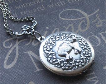 Elephant Locket Necklace Silver Locket Jewelry Womens Locket Bridesmaid Locket  Wedding Jewelry Photo Picture Locket Lucky Elephant Gift