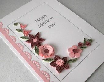 Quilled Mother's Day card, paper quilling flowers, handmade
