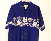 Hawaiian shirt, tropical Shirt, t-shirt, Tee shirt, shirt, 100% cotton, cotton shirt button up shirt, Size L, large, Size XL, extra large