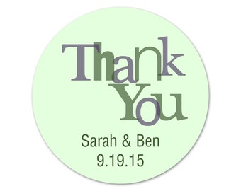 Custom Thank You Stickers - Wedding Stickers - Modern Personalized Labels - Favor Stickers - Custom Labels - Choose Your Colors