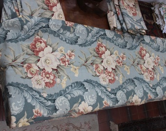 Curtain Panel Stunning Blue Pink Floral Vat dyes 1940 Cotton Barkcloth Era Fabric 7 available VINTAGE by Plantdreaming
