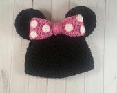 Baby girl photo prop set crochet baby costume newborn photo prop Minnie inspired hat baby girl hat minnie mouse minnie hat newborn hat