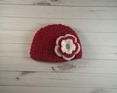 Baby girl flower hat, christmas hat, flower hat, crochet photo prop, newborn hat, baby hat, baby girl hat, valentines day hat