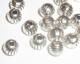 4mm Antique silver plated fluted spacer beads 4mm round shaped spacer beads -- 100 pieces  (2191AS)
