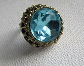 Vintage Chunky Cocktail Ring Light Blue Stone in Pale Gold Tone Setting Adustable