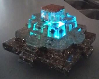 "ORGONE Reiki Crystal Pyramid 6"" Mayan Money Magnet Aventurine w/ Lighted Base"