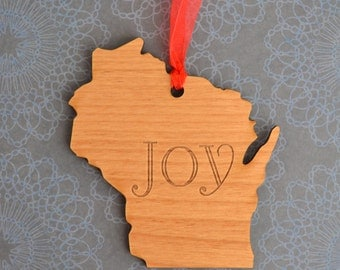 JOY Engraved Wisconsin Ornament