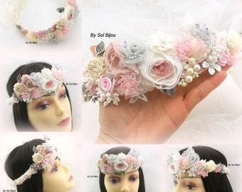 Crown, Headband, Halo, Bridal, Jeweled, Flower Girl, Pink, Silver, Ivory, Gray, Lace, Crystals, Pearls, Vintage Inspired