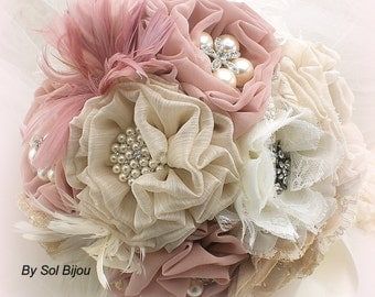 Brooch Bouquet, Ivory, Beige, Champagne, Tan, Blush, Dusty Rose, Elegant Wedding, Bridal, Feathers, Lace, Crystals, Pearls, Vintage Style