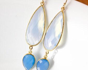 Gold White Opalite & Blue Chalcedony Glamour Earrings - 14K GF - Something Blue