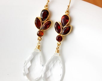 Gold Crystal Quartz Earrings - Bridal Earrings - Red Garnet Quartz