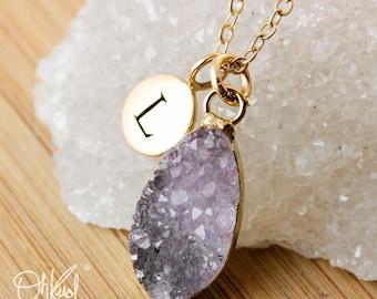 50% OFF SALE - Purple Druzy Initial Necklace - Multi-Colour Druzy Pendants - Choose Your Druzy