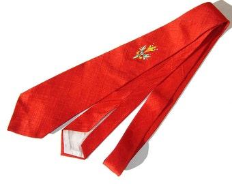 Vintage 40s Tie Red Hand Painted Rockabilly Swing Necktie