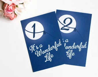 Christmas Party, Table Numbers, Table Cards, It's a Wonderful Life, Lasso the Moon, Midnight Blue Holiday Party Vintage Style Wedding Shower