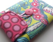 Amy Butler iPad Mini case / eReader sleeve / Kindle / Kobo / Nook pouch / Samsung case, padded with pocket, button and flap closure