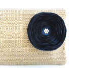 Rustic Clutch Bag with Handmade Midnight Blue Satin Flower - READY TO SHIP