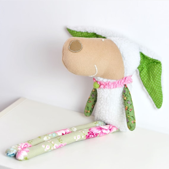 handmade soft toy sheep Laura - in pink and green