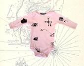 Pale Pink Treasure Map Baby Onesie