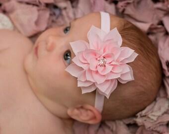Pink Chiffon Flower Headband, Pink Velvet Headband,  Chiffon Flower Headband, Newborn Headband, Photo Prop, Baby Hair Accessories,