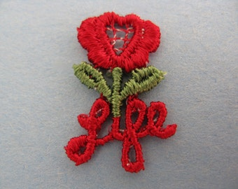 vintage red rose / pro-life appliqué. 1980's embroidered flower / LIFE patch. deadstock.