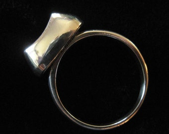 "Modern Sterling Ring, Sterling ""Gem"", Size 6"
