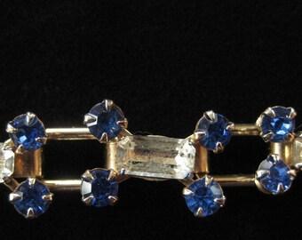 Funky Rhinestone Bracelet, Blue and Clear