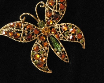 Rhinestone Filigree Butterfly Brooch, Topaz and Green