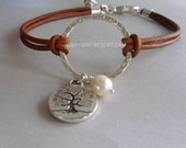 LEATHER Boho Bracelet - Pick SIZE / COLOR - Silver Infinity Circle Charm w/ Tree Of Life Charm w/ Freshwater Pearl  Natural Leather Usa 223
