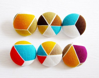 Geometric Buttons - Fabric Covered Buttons - 6 Large Buttons