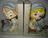 Vintage Country Boy and Girl In Overalls Bookends