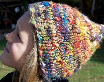 Warm Wooly Mountain Hat - Rainbow