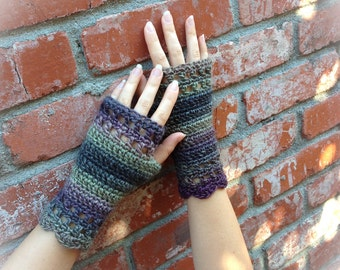 Stephanie Crochet Fingerless Gloves or Mittens in Lakeside