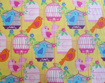 Michael Miller Fabric Sing Song, Birds and Birdhouse Fabric- yardage