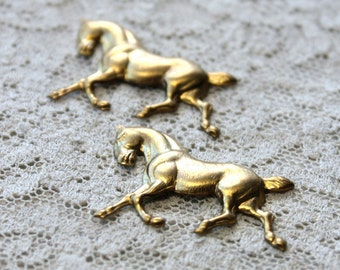 2 Vintage Brass Horse Stampings  // 1960s  Horses Charm // 60s 70s Jewelry Craft Supply //  Equestrian
