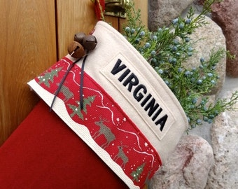 Christmas Reindeer Ribbon Personalized Christmas Stockings in Burnt Berry Wool Fabric Classic