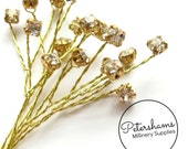 6 Stems 4mm Wired Clear on Gold Rhinestone / Diamantes for Tiara Making & Millinery