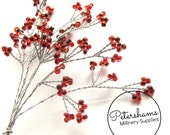 6 Stems Seed Bead Wired Trees for Tiaras, Millimnery & Crafts - Red