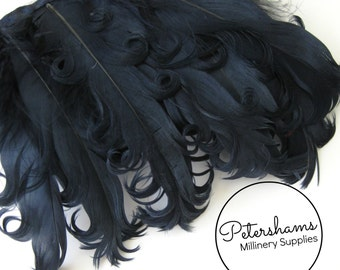 Curled Goose Nagorie Feather Fringe (around 8-10 feathers) for Millinery & Crafts - Navy Blue