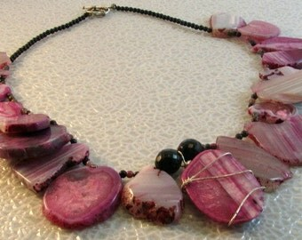 Pink Agate, Tourmaline and Onyx Stone  Necklace