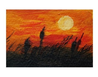 Moonlight - hand painted aceo landscape