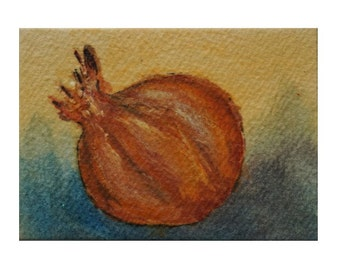 Gold Onion - Hand Painted Watercolor Aceo Still Life