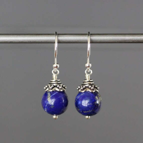 Bright Blue Smooth Round Lapis Earrings with Bali Silver Caps