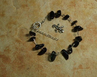 Natural Black Onyx Gemstone Chips,.925 Silver Bracelet