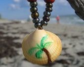 Palm Tree Seashell Necklace-FREE SHIPPING-Stocking Stuffer, Gifts for Her, Gifts for 15, Beach Jewelry, Palm Tree, Hanukkah Gifts, Ocean