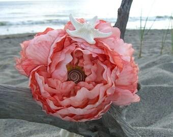 Bridal Bouquet Starfish Seashell Bouquet-CORAL REEF-Beach Wedding, Bridesmaid Bouquet, Destination Wedding, Coral, Starfish Bouquet, Mermaid