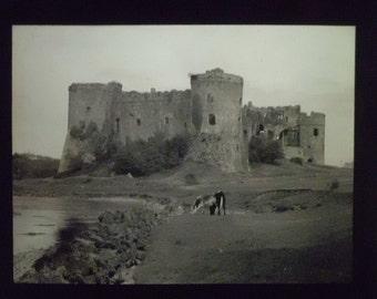 Vintage magic lantern slide of Carew castle