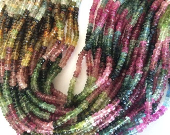"13.75"" Strand 3.5mm Faceted Tourmaline Rondelle Beads"