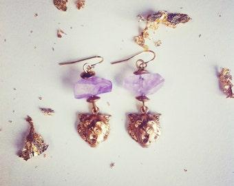 Cat Amethyst Nugget earrings
