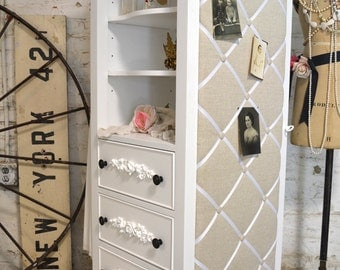 Painted Cottage Chic Shabby Romantic French Armoire Dreamer Chest LGDC05