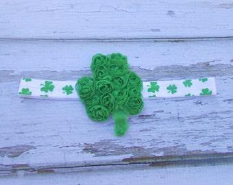 St Patricks day  green shamrock chiffon flower headband  newborn-toddler-girls Pinch Proof